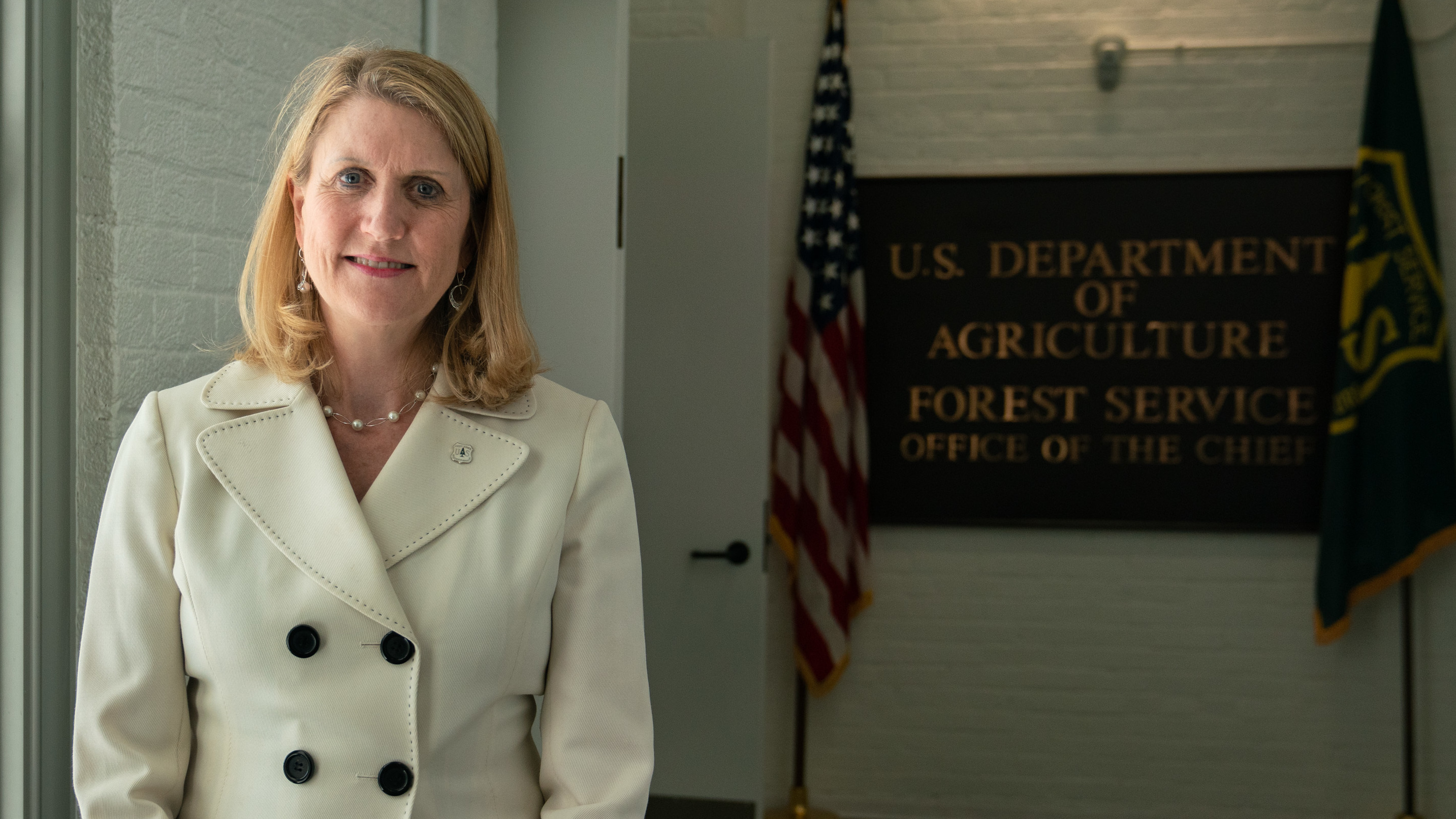 Vicki Christiansen, the chief of the U.S. Department of Agriculture's Forest Service, stands outside of her office in Washington, D.C.