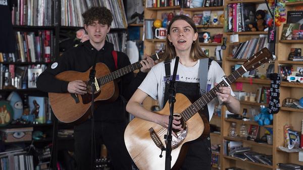 Tomberlin performs at a Tiny Desk Concert on April 23, 2019 (Emily Bogle/NPR)