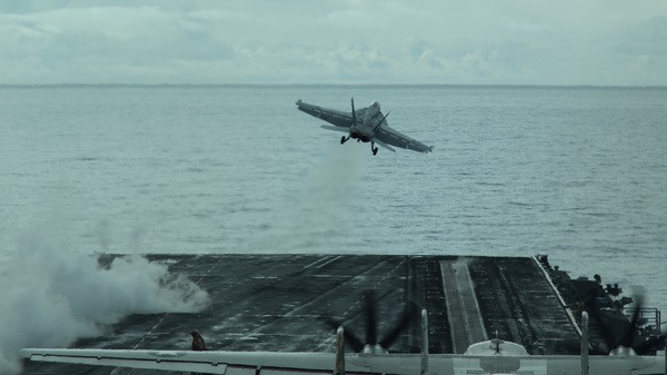 F/A-18 Super Hornet is launched by a steam-powered catapult off the USS Theodore Roosevelt during Naval exercises in the Gulf of Alaska.