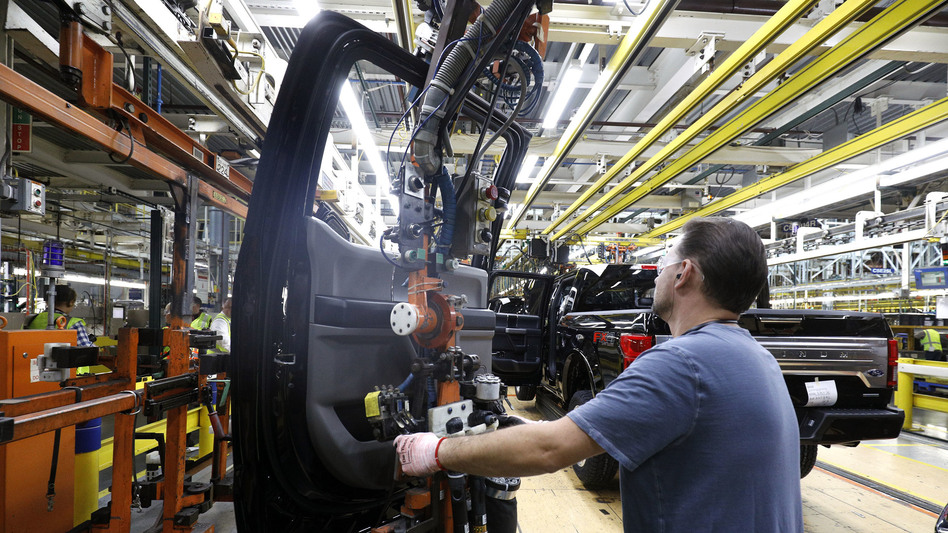 An F-150 pickup is assembled at a Ford plant in Dearborn, Mich., last year. Manufacturing has been a soft spot in recent months.