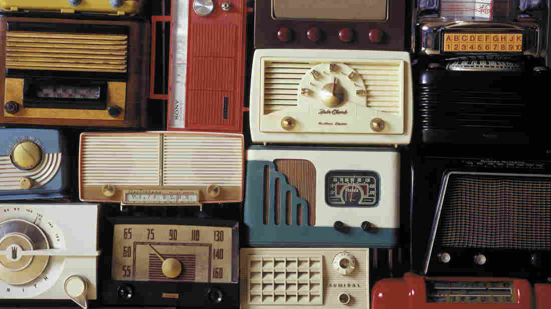 A collection of vintage radios.