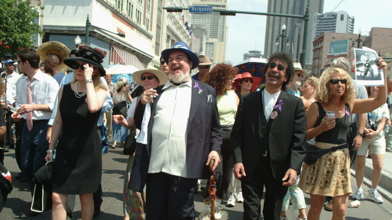 Dr. John and Earl King in a funeral march.