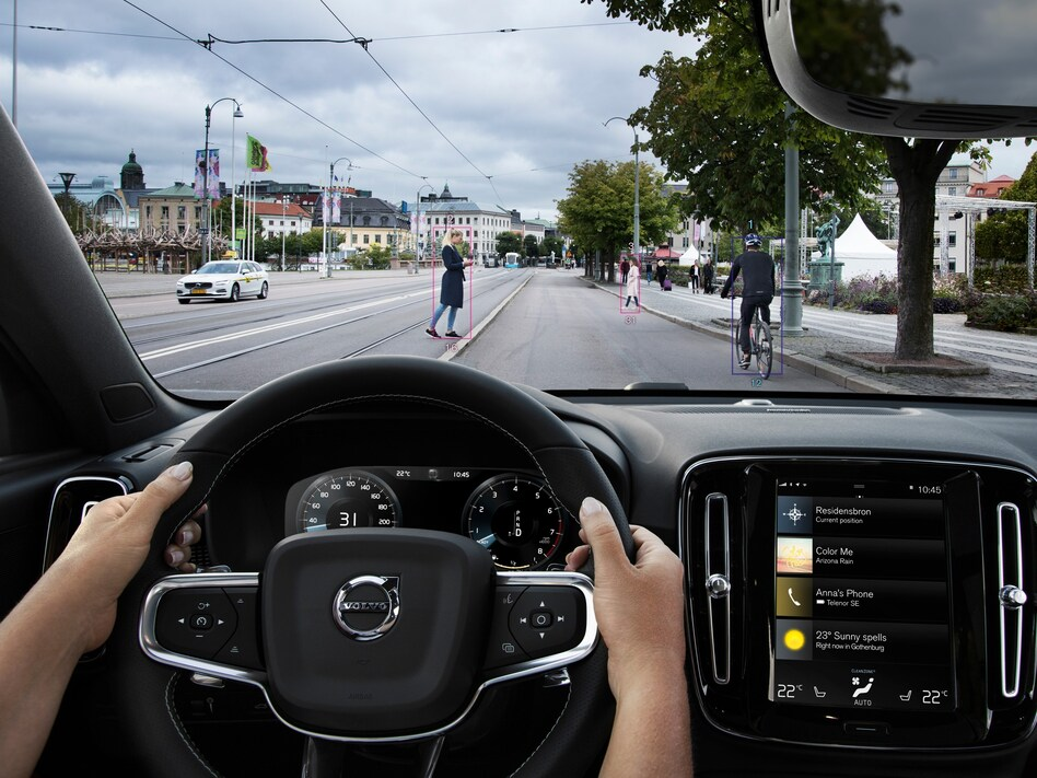 A photo demonstrates safety features in a Volvo XC40. Many new cars have optional features that can help prevent accidents. But those same features can also make repairs more expensive, boosting car insurance premiums. (Volvo Car Group)