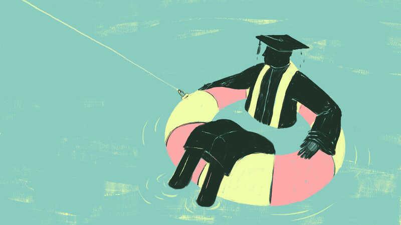 Graduate floating in water.