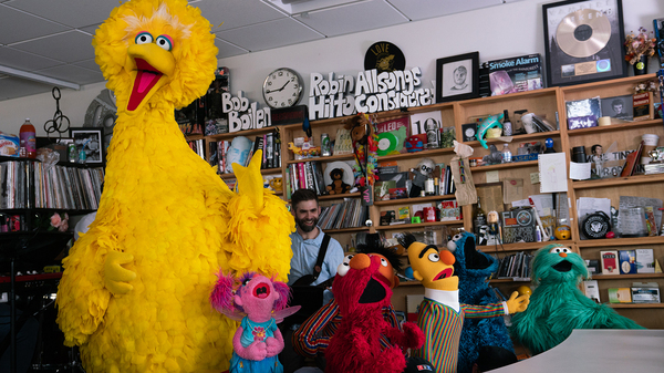 Sesame Street plays a Tiny Desk concert on May 10, 2019 (Claire Harbage/NPR).