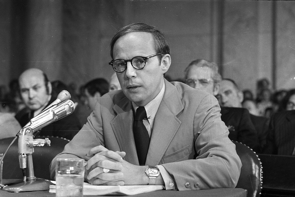 Former White House aide John Dean pauses while reading a prepared statement before the Senate Watergate Committee on June 25, 1973. Dean has returned to public view as a CNN contributor and vocal critic of President Trump. (AP)