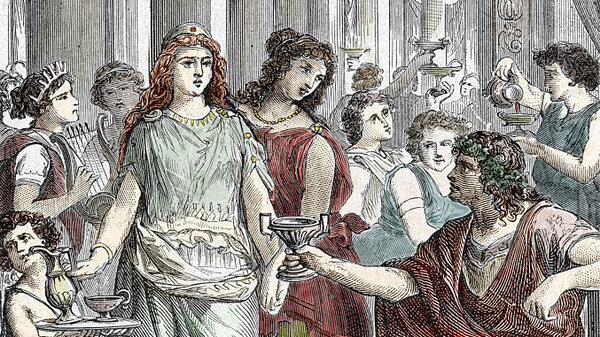 """An engraving shows Galla Placidia (390-450), daughter of Roman Emperor Theodosius I, in captivity. New research shows that in some cases, we are drinking almost the exact same wine that Roman emperors did — our pinot noir and syrah grapes are """"siblings"""" of the ancient Roman varieties."""