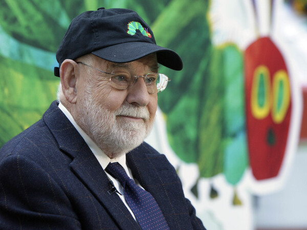 Eric Carle and his most famous creation, during a 2009 appearance on the Today show.