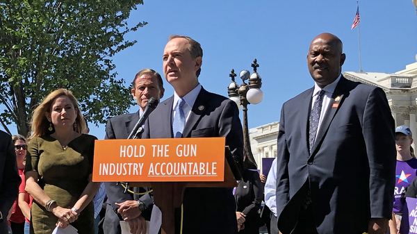 California Rep. Adam Schiff speaks at a news conference as Rep. Jason Crow of Colorado (from left), Rept. Debbie Mucarsel-Powell of Florida, Sen. Richard Blumenthal of Connecticut and Rep. Dwight Evans of Pennsylvania look on. The Democratic leaders introduced the Equal Access to Justice for Victims of Gun Violence Act on Tuesday.