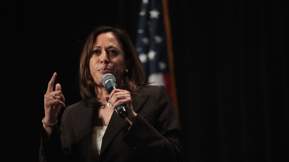 Democratic presidential candidate and Sen. Kamala Harris, D-Calif., spoke to the <em>NPR Politics Podcast</em> about abortion access, the economy and trade, on Sunday in Cedar Rapids, Iowa. (Scott Olson/Getty Images)