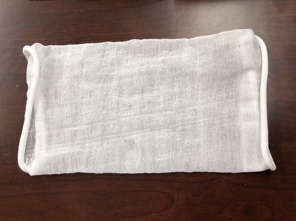 A sleeve made from biopolymer for clothing. The Mango team is working with several companies to test how well their biopolymer will work in textiles.