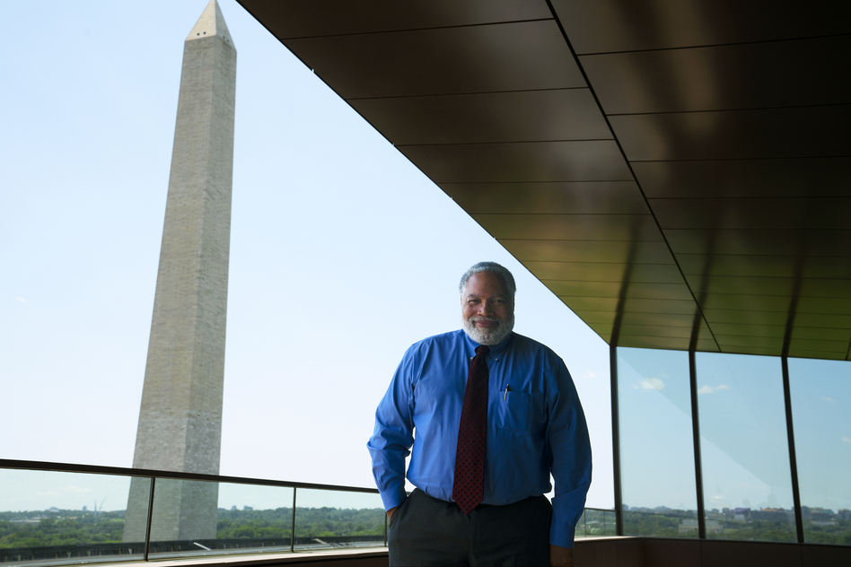 Lonnie Bunch, the founding director of the National Museum of African American History and Culture, stands for a portrait at his office. He will soon become the Smithsonian Institution's new secretary. (Shuran Huang/NPR)
