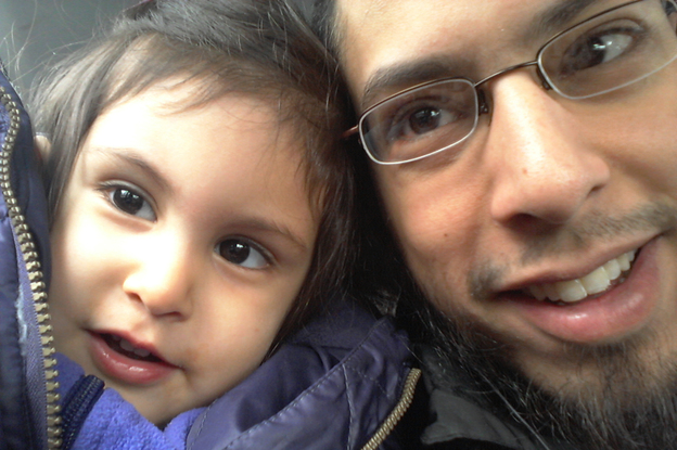 "Danisch Farooqi with his daughter, Aaliya, in Hamburg, Germany, when she was around 2 years old. ""I haven't seen her in five years,"" he says. He wonders if she has forgotten him. (Courtesy of Danisch Farooqi)"