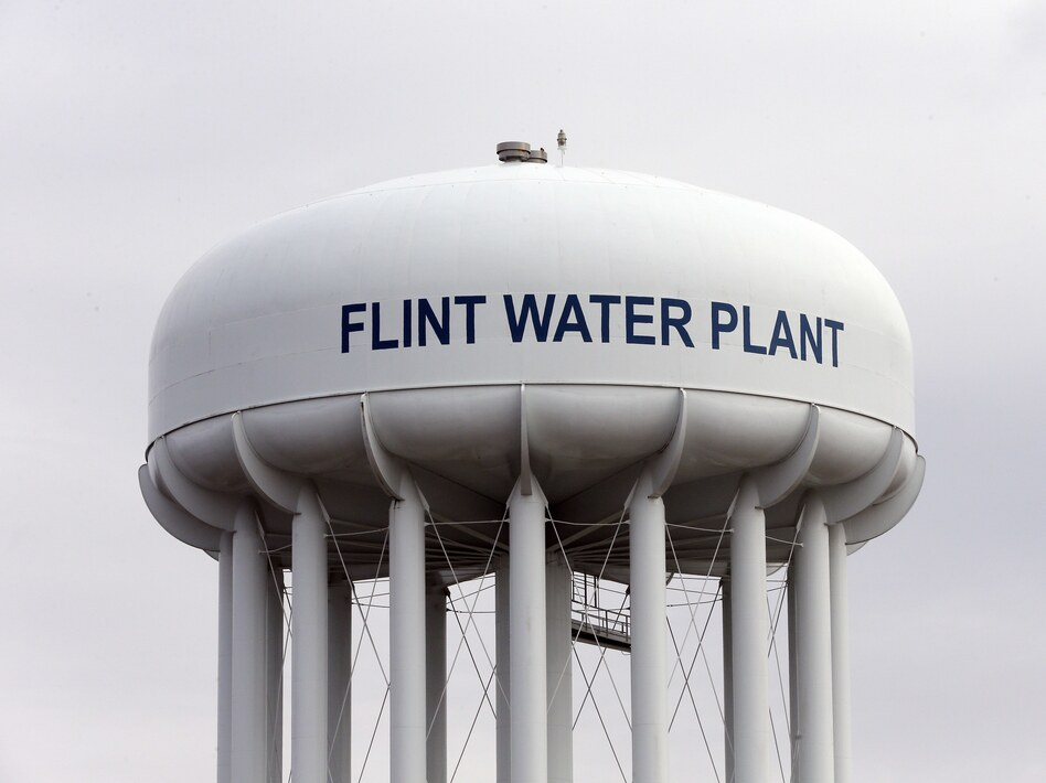 The Flint Water Plant tower in Flint, Mich., where drinking water became tainted after the city switched from the Detroit system and began drawing from the Flint River in April 2014 to save money. (Carlos Osorio/AP)