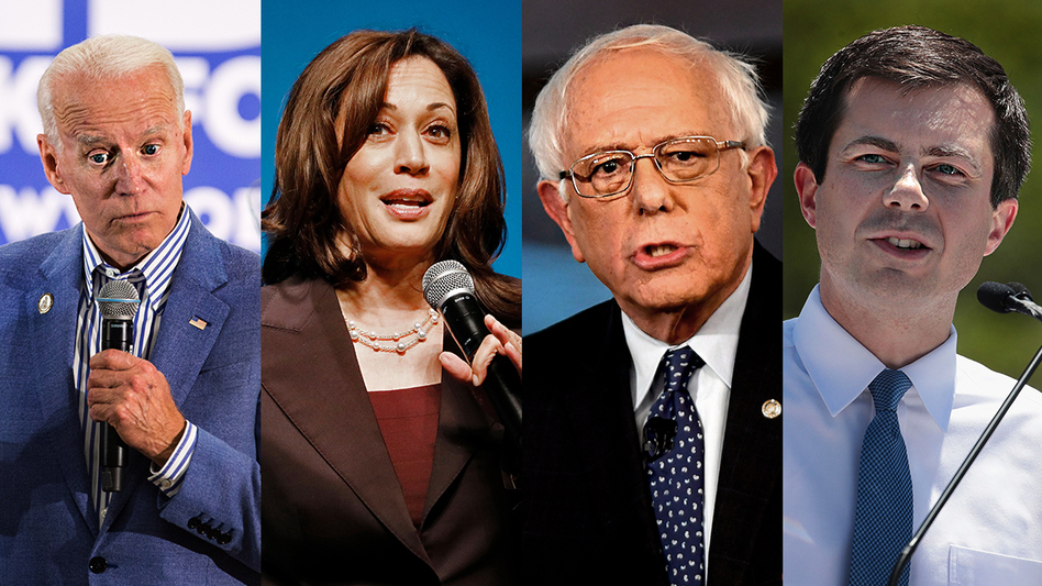 Former Vice President Joe Biden, Sen. Kamala Harris, Sen. Bernie Sanders, Mayor Pete Buttigieg will all be on the debate stage together on June 27. (Scott Eisen; Kimberly White; Mark Makela; Scott Olson/Getty Images)