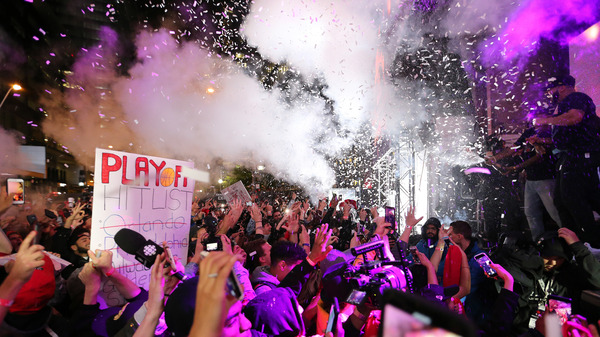 Raptors fans party in Toronto as their team wins the NBA championship.