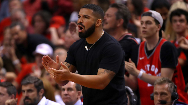 Drake reacts in the first half during Game 5 of the 2019 NBA Finals between the Golden State Warriors and the Toronto Raptors. The rapper dropped new music in celebration of the Raptors championship win.