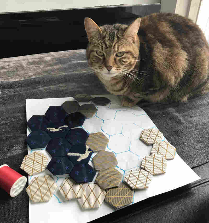 Sophie the cat was a great help in the craft process.