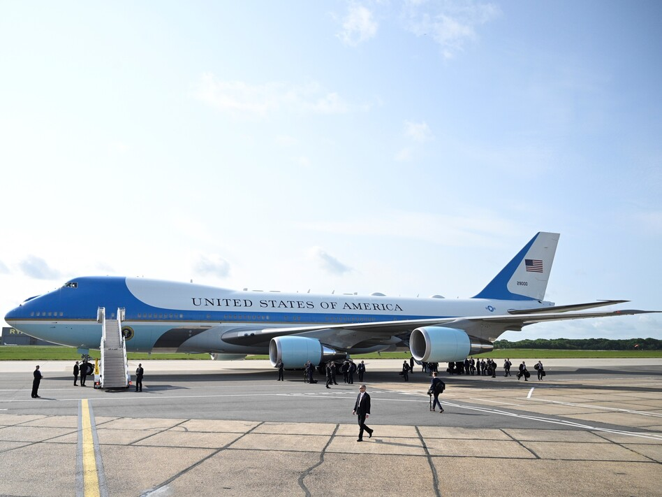 Air Force One following the arrival of U.S. President Donald Trump at Stansted Airport on June 3, 2019 in London, England. (Leon Neal/Getty Images)