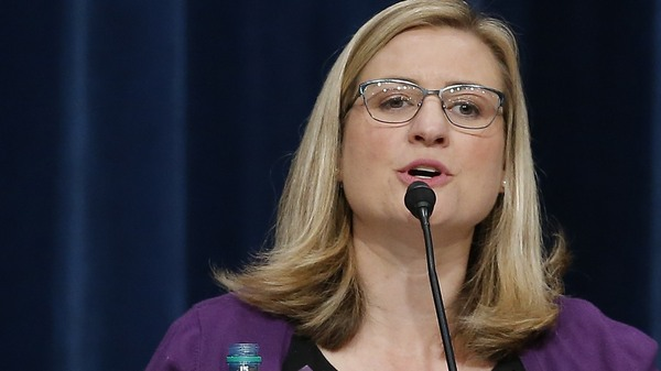 On Saturday, Phoenix Mayor Kate Gallego, pictured above in September 2018, apologized to the city following an outcry over footage showing police officers pointing a gun and yelling at a family as part of an investigation into a claim that a doll was shoplifted from a Family Dollar store in Phoenix.