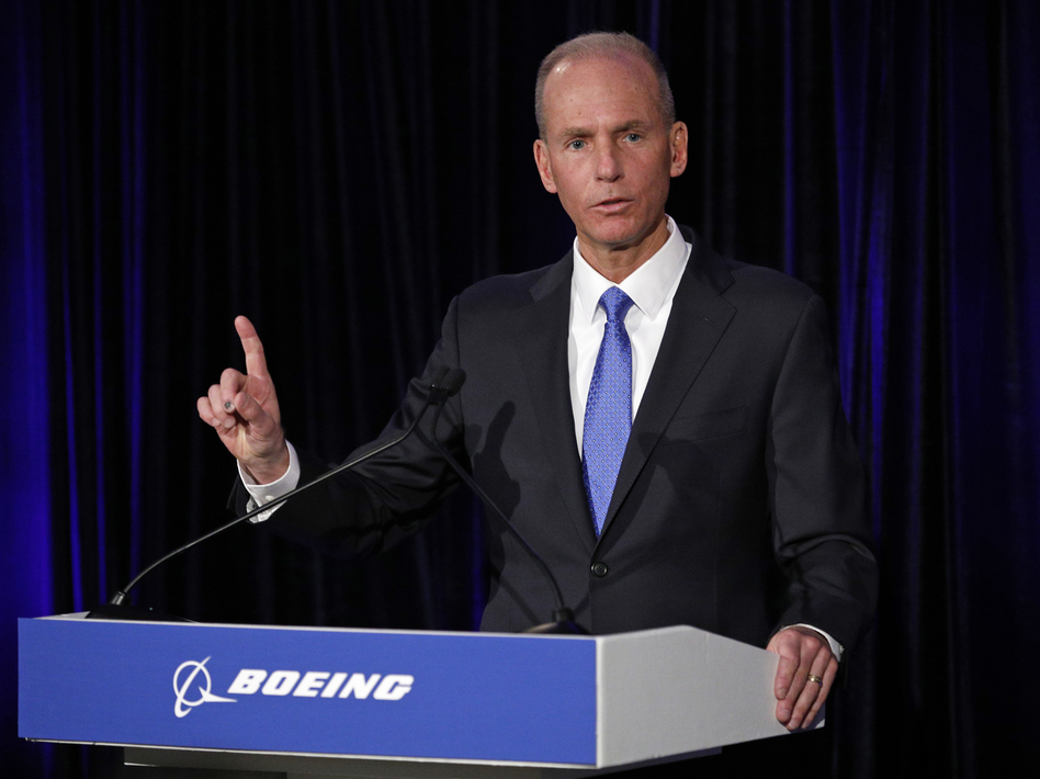 Boeing Chief Executive Dennis Muilenburg speaks during a press conference after the annual shareholders meeting in Chicago on April 29. (Jim Young - Pool/Getty Images)