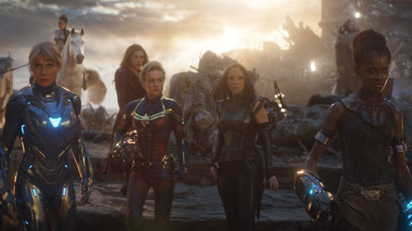 """Though women superheroes play big roles in Avengers: Endgame, a """"defeminized"""" fan edit of the movie minimizes screen time for most of them. It completely cuts out all scenes with Captain Marvel (Brie Larson, center left)."""