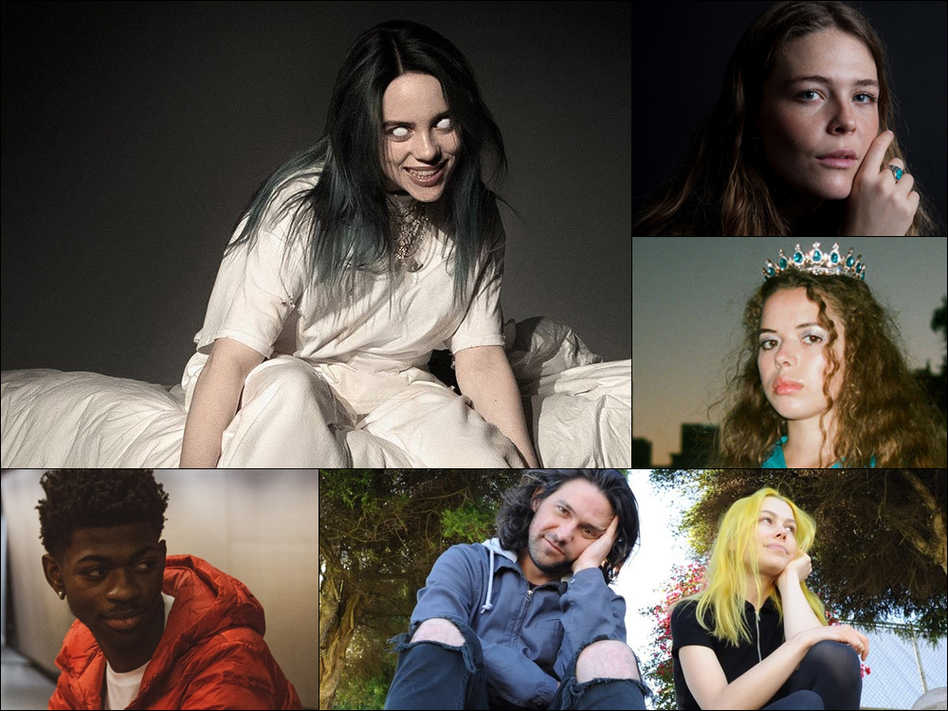 Clockwise from upper left: Billie Eilish, Maggie Rogers, Nilüfer Yanya, Better Oblivion Community Center, Lil Nas X (Courtesy of the artists )
