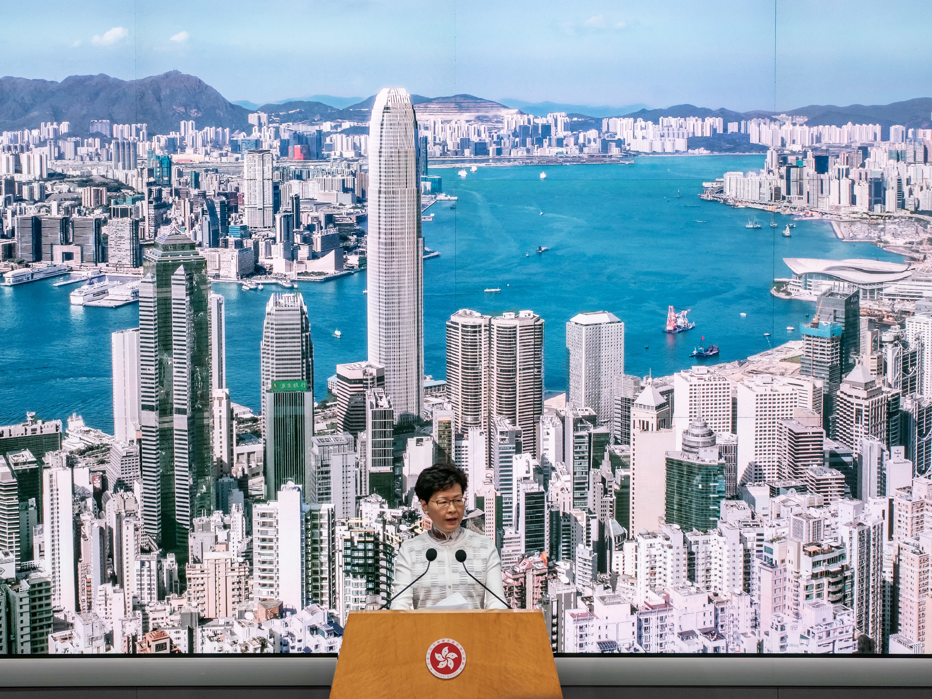 Carrie Lam, Hong Kong's chief executive, speaks at a news conference on June 15.