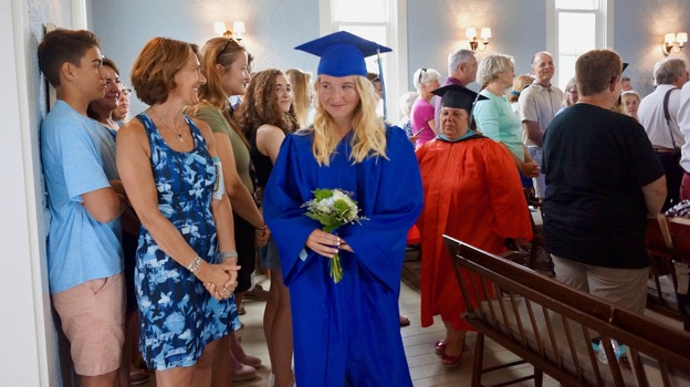 Gwen Lynch graduated 8th grade on Monday as the only student of a one-room public school on the tiny island of Cuttyhunk in Massachusetts. (Hayley Fager/WCAI)