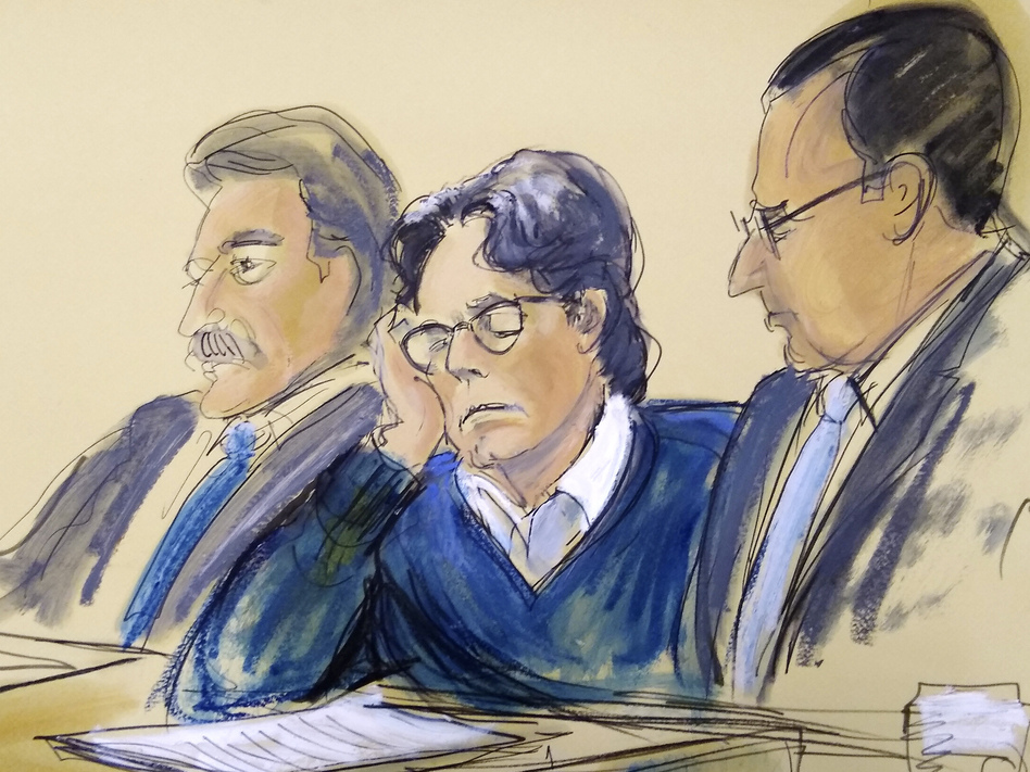 In this courtroom artist's sketch, defendant Keith Raniere (center) sits with his attorneys, Paul DerOhannesian (left) and Marc Agnifilo during closing arguments Tuesday in federal court in Brooklyn, N.Y. (Elizabeth Williams/AP)