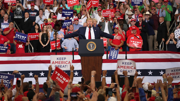 President Trump speaks during his rally where he announced his candidacy for a second presidential term on Tuesday at the Amway Center in Orlando, Florida. President Trump is set to run against a wide open Democratic field of candidates, which he is trying to define as extreme. (Joe Raedle/Getty Images)