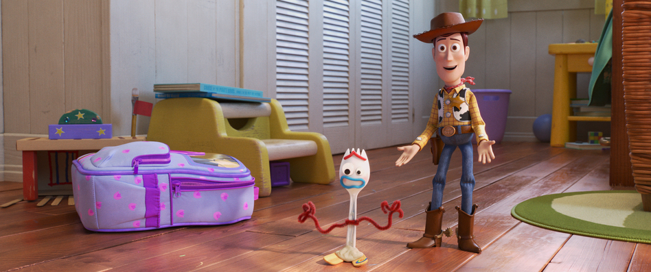 In the fourth installment of the <em>Toy Story</em> franchise, Bonnie comes home from kindergarten with Forky, a plastic fork with googly eyes and pipe cleaner hands voiced by Tony Hale. Sheriff Woody (voiced by Tom Hanks) has aged into an avuncular figure. (Pixar)