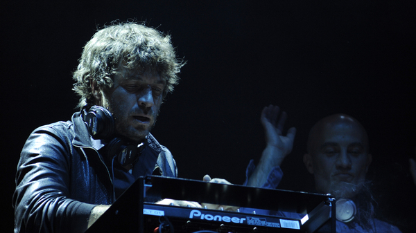 """Philippe """"Zdar"""" Cerboneschi, left, and Hubert Blanc-Francard, better known as """"Boom Bass,"""" performing as Cassius  on April 24, 2010 in Paris, France. Cerboneschi died Jun. 19, 2019 in an accident that occurred at his home in Paris."""