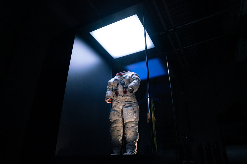 """The spacesuit Neil Armstrong wore on the moon during the Apollo 11 mission 50 years ago. Apollo 11 blasted off for the moon on July 16, 1969, and Armstrong took his famed """"giant leap"""" five days later. (Claire Harbage/NPR)"""
