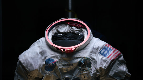 The spacesuit was engineered to help Neil Armstrong easily connect his equipment. The suit's metal fittings are brightly colored so that even in the excitement of the moon landing, Armstrong could attach his helmet, air tubes and gloves.