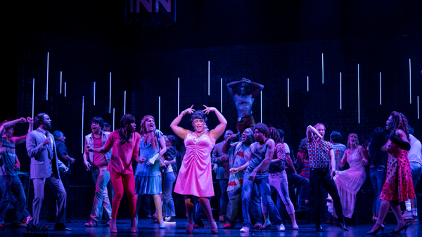 Jordan Weatherston Pitts (center) sings the role of Renata, the drag queen, with the company of New York City Opera