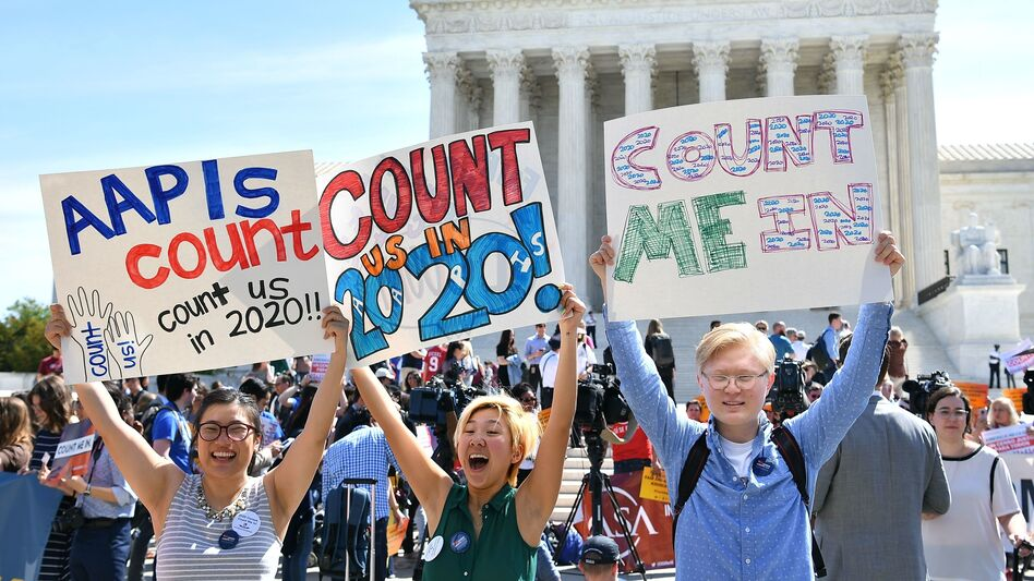 Demonstrators rally outside the U.S. Supreme Court in Washington, D.C., in April to protest the Trump administration's plan to add a citizenship question to forms for the 2020 census. (Mandel Ngan/AFP/Getty Images)