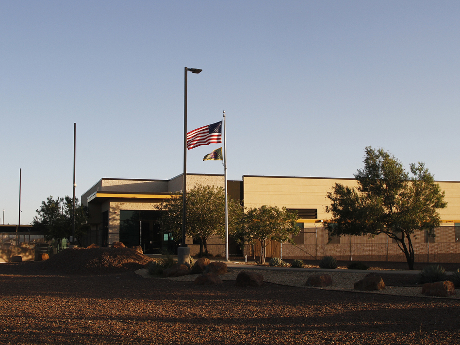 The entrance of a Border Patrol station in Clint, Texas. U.S. Customs and Border Protection said the agency is removing children from the facility following reports of unsanitary conditions inside. (Cedar Attanasio/AP)