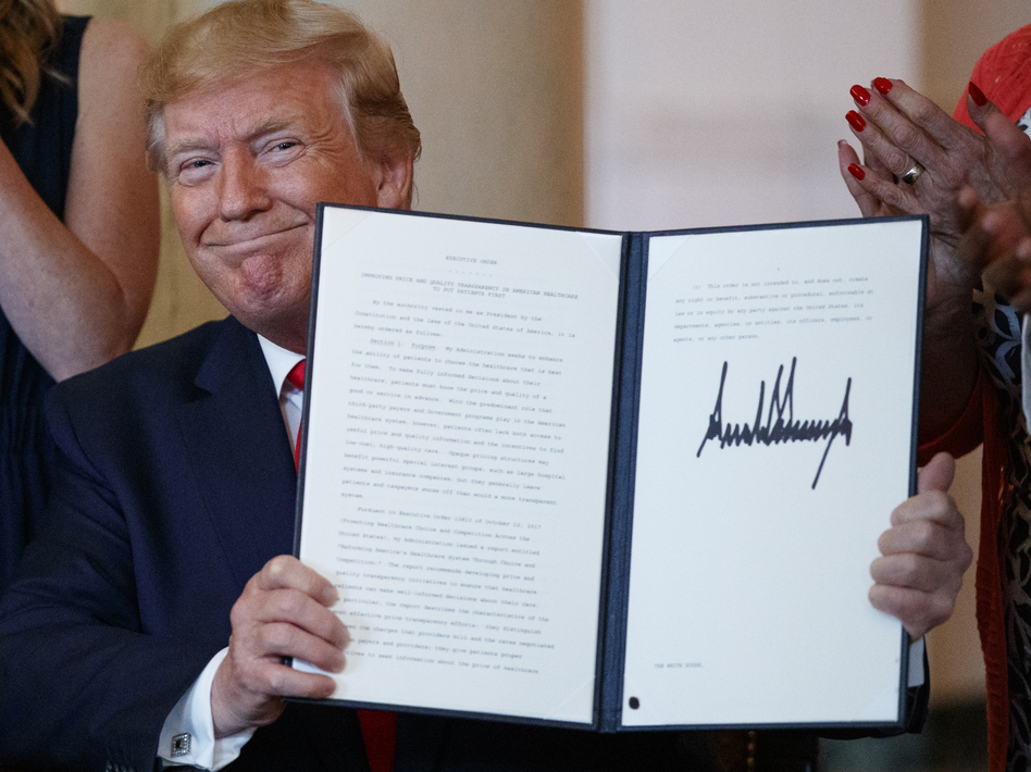 The executive order on drug price transparency that President Trump signed Monday doesn't spell out specific actions; rather, it directs the department of Health and Human Services to develop a policy and then undertake a lengthy rule-making process. (Carolyn Kaster/AP)