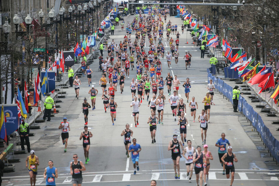 Researchers studied the gut microbes of runners from the Boston Marathon, isolating one strain of bacteria that may boost athletic performance. (Nicolaus Czarnecki/Boston Herald via Getty Images)