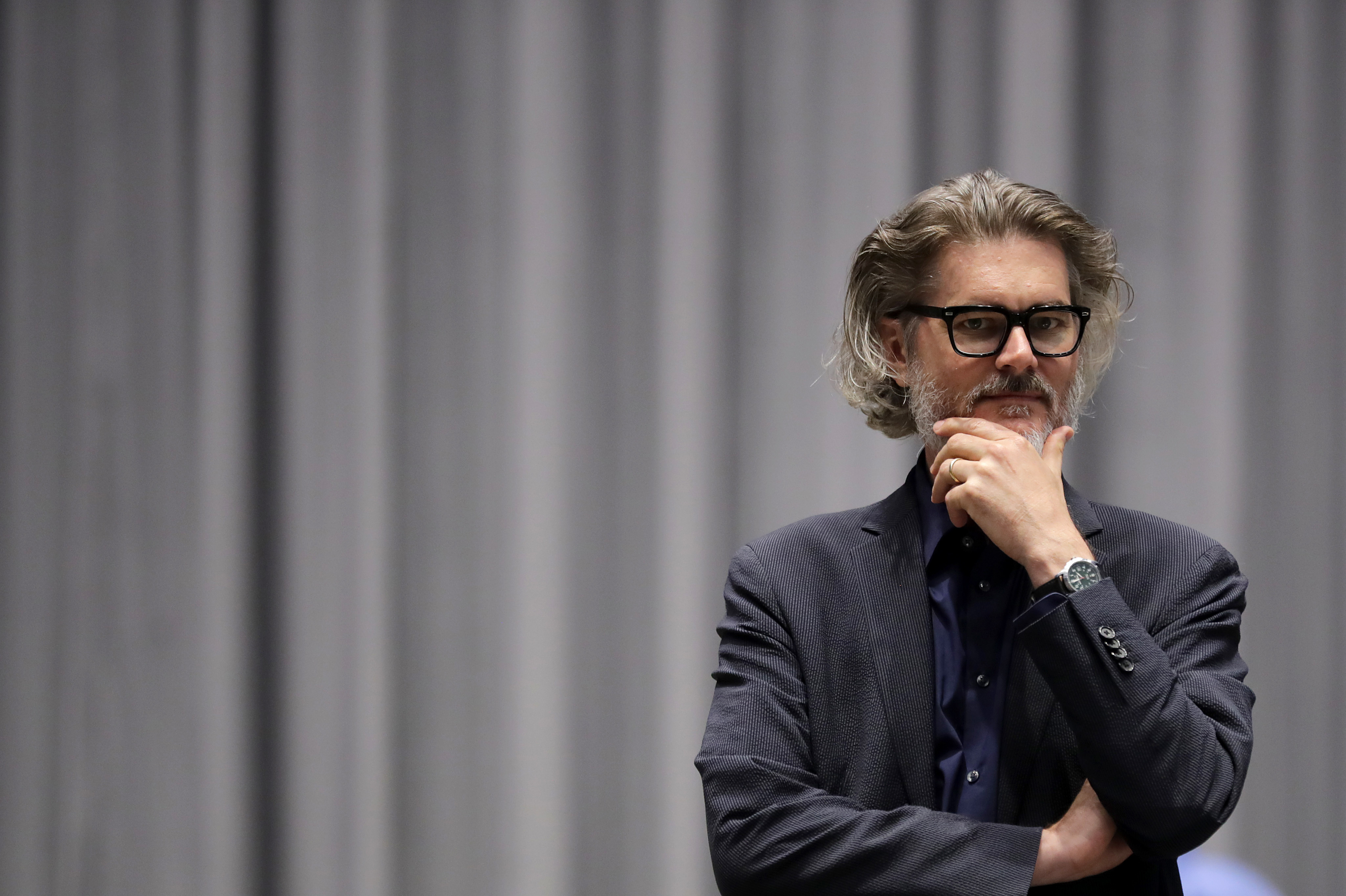 """Author Mo Willems supervises a rehearsal of the musical adaptation of Don't Let the Pigeon Drive the Bus! at the Kennedy Center in Washington, D.C. As the very first Education Artist-in-Residence, """"I can say at this point that I am the greatest ... """" he laughs, """"I'm certainly in the top five."""""""