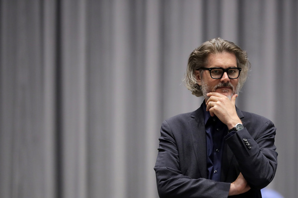 "Author Mo Willems supervises a rehearsal of the musical adaptation of Don't Let the Pigeon Drive the Bus! at the Kennedy Center in Washington, D.C. As the very first Education Artist-in-Residence, ""I can say at this point that I am the greatest ... "" he laughs, ""I'm certainly in the top five."""