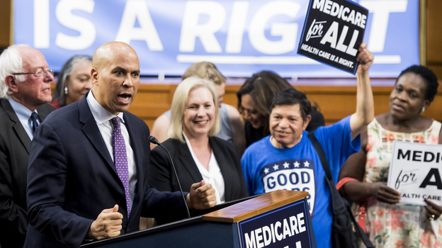 "Sens. Cory Booker and Kirsten Gillibrand are among the presidential candidates to back Sen. Bernie Sanders' ""Medicare-for-all"" legislation, but even some Democrats who co-sponsored it have welcomed other policies. (Bill Clark/CQ-Roll Call/Getty Images)"