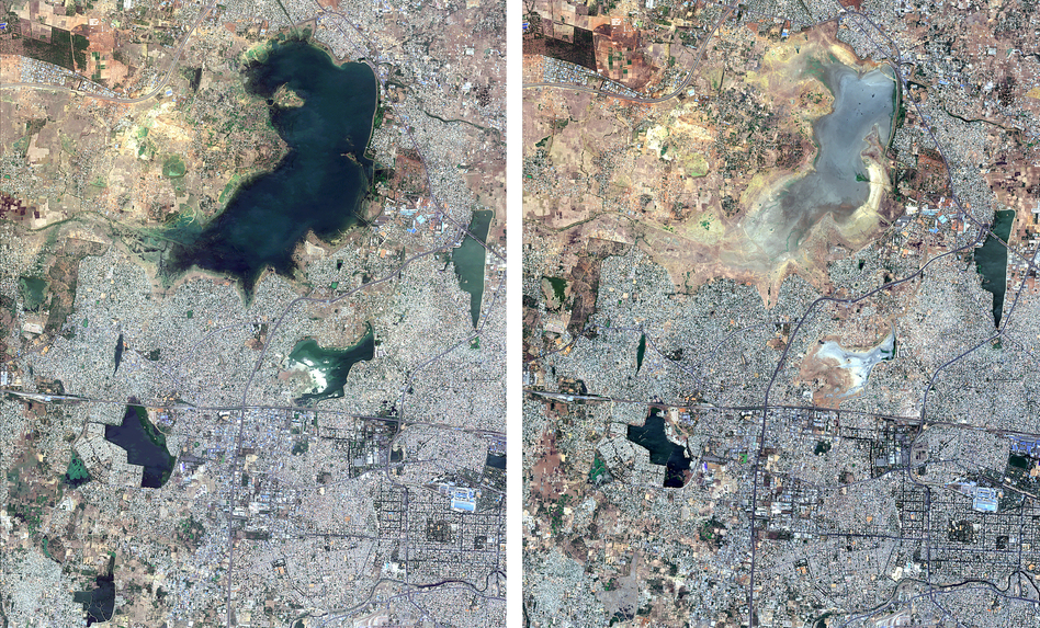 These satellite images from June 15, 2018, (left) and June 15, 2019, show the diminishing size of the Puzhal Lake reservoir in Chennai, India. (Copernicus Sentinel-2 Satellite Image/Maxar Technologies via AP)
