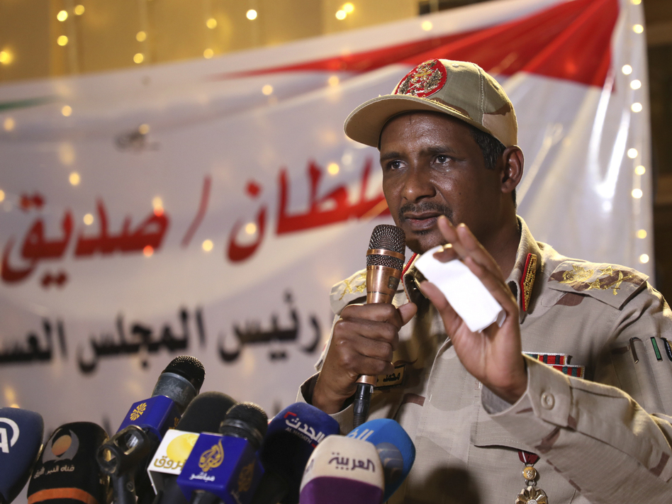Lt. Gen. Mohamed Hamdan Dagalo is a social media personality. He's also the leader of the paramilitary group that attacked thousands of pro-democracy protesters on June 3, leaving more than a 100 dead. (STR/AFP/Getty Images)
