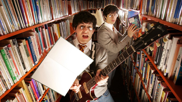 Paul and Joe DeGeorge (left and right, respectively) of Harry and the Potters, photographed in 2005. That same year, the brothers founded the Harry Potter Alliance, which encourages young readers of the eponymous book series to become active in their communities.