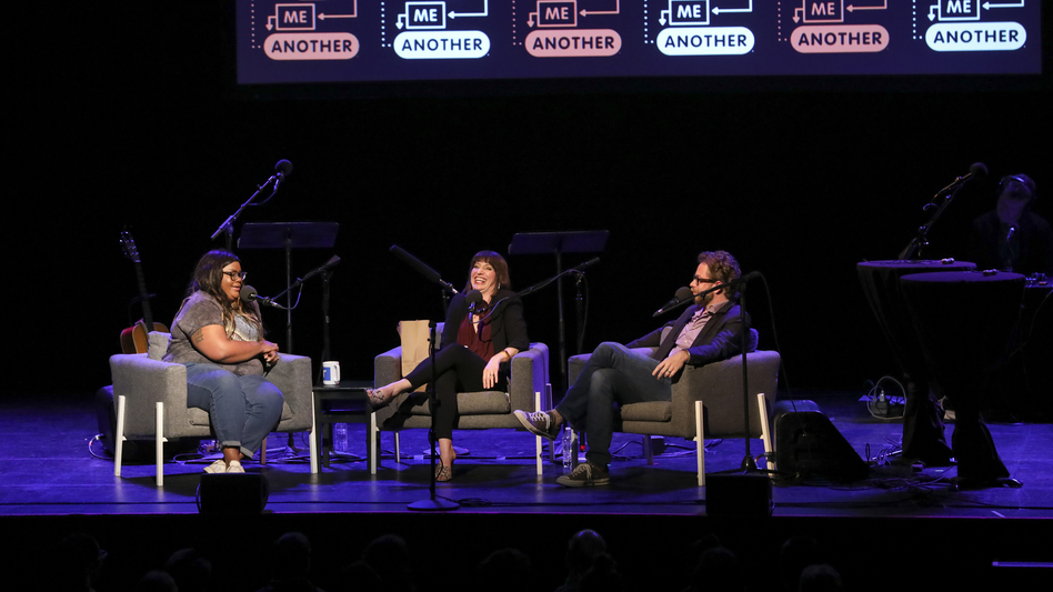 Comedian Nicole Byer is quizzed on the movie <em>Ghost</em>, alongside <em>Ask Me Another</em> host Ophira Eisenberg and Jonathan Coulton at the Moore Theatre, in Seattle, Washington. (Mike Katzif/NPR)