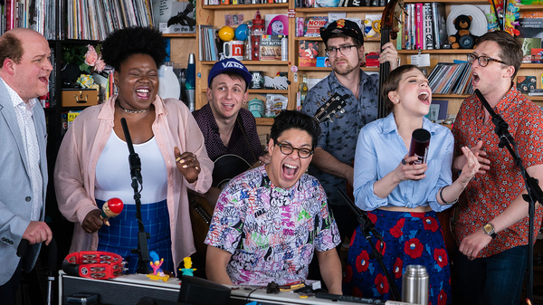 Be More Chill plays a Tiny Desk Concert on June 10, 2019 (Shuran Huang/NPR).