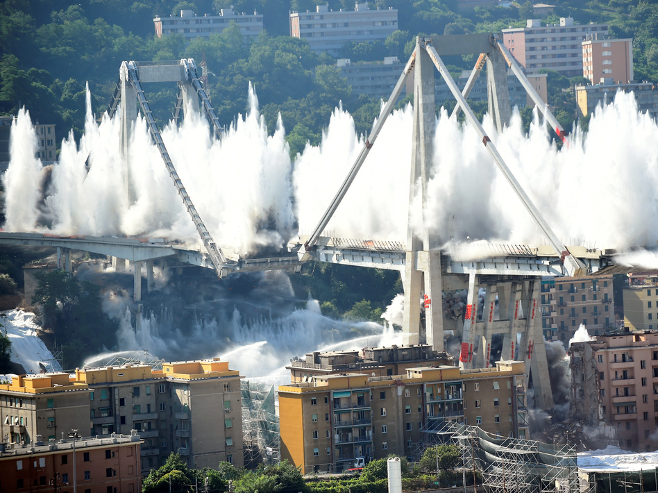 Genoa Bridge Is Demolished, Erasing An Artifact Of Deadly Collapse