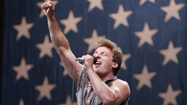 Bruce Springsteen in 1985, performing in Washington, D.C. during his Born in the U.S.A. Tour.